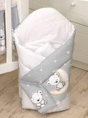 Mama Kiddies Baby Bear pólya szürke macis mintával