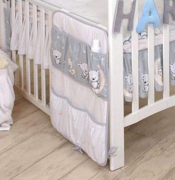 Mama Kiddies Baby Bear zsebes tároló szürke macis mintával