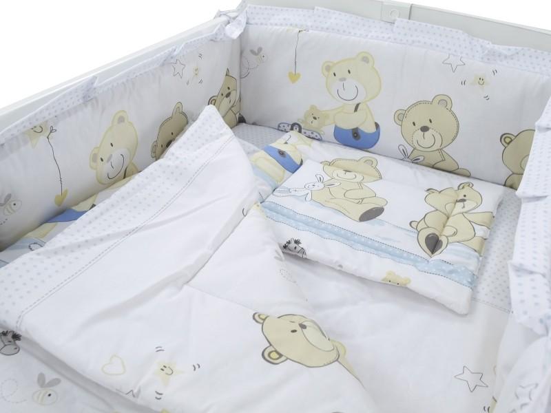 MamaKiddies Sofie Dreams 4 részes ágynemű 180°-os rácsvédővel macis mintával  világoskék-fehér 76563c9ed9