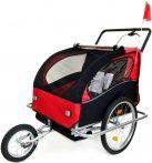 2 üléses lengéscsillapítós kerékpár utánfutó piros-fekete színben