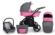 Mama Kiddies Titan 3az1-ben multifunkciós babakocsi pink színben + ajándék