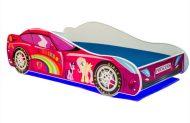 Mama Kiddies 140x70-es gyerekágy autós dizájnnal - Princess Rainbow mintával - matraccal
