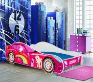 MamaKiddies 160x80-as gyerekágy autós dizájnnal - Princess Rainbow mintával - matraccal