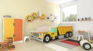 MamaKiddies 160x80-as gyerekágy teherautós dizájnnal - CAT mintával - matraccal