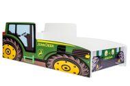 MamaKiddies 140x70-as gyerekágy traktor dizájnnal - JohnDeere mintával - matraccal