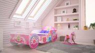 MamaKiddies 160x80-as gyerekágy hintó dizájnnal - rózsaszín mintával - matraccal