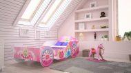 Mama Kiddies 160x80-as gyerekágy hintó dizájnnal - rózsaszín mintával - matraccal