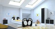 MamaKiddies 160x80-as gyerekágy Panda dizájnnal és matraccal