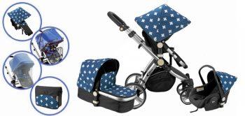 Mama Kiddies Prémium BabyBee (Australian Edition) 3 az 1-ben babakocsi kiegészítőkkel kék-fekete-fehér színben + Ajándék