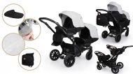 Mama Kiddies Gemini 3az1-ben ikerbabakocsi kiegészítőkkel világosszürke-fekete színben + ajándék