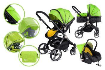 Mama Kiddies Prémium Plus Baby 3 az 1-ben babakocsi kiegészítőkkel lime-fekete színben + Ajándék