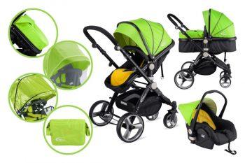MamaKiddies Prémium Plus Baby 3 az 1-ben babakocsi kiegészítőkkel lime-fekete színben + Ajándék