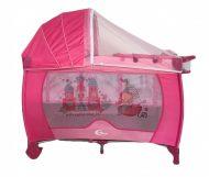 KIÁRUSÍTÁS - MamaKiddies VIP pink (emelhető magasságú és ringatható) Utazóágy + Szúnyogháló + Ajándék