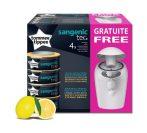 Tommee Tippee pelenkacsomagoló citrom illatú utántöltő 4db + ajándék pelenkacsomagoló szemetes