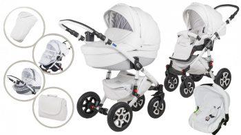 Mama Kiddies Carbon Exclusive White 3az1-ben multifunkciós Eco Leather babakocsi kiegészítőkkel + Ajándék