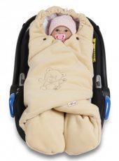 Nellys Baby univerzális organikus pamut hálózsák babakocsihoz - bézs színben