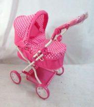 Rózsaszín fehér pöttyös baba babakocsi fehér vázzal (new edition)