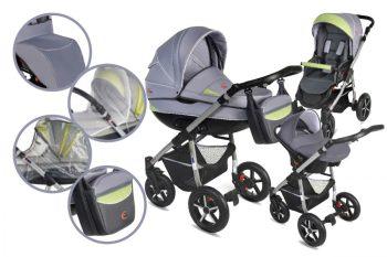 Mama Kiddies DS 3az1-ben kiegészítőkkel ezüst-zöld színben + Ajándék