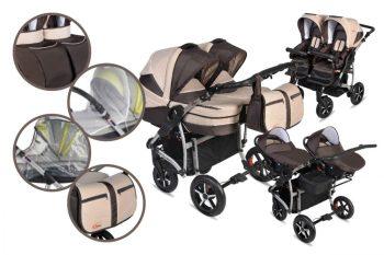 Mama Kiddies TWIN 3az1-ben ikerbabakocsi kiegészítőkkel barna-bézs színben + Ajándék