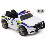 Elektromos rendőrautó távirányítóval fehér színben