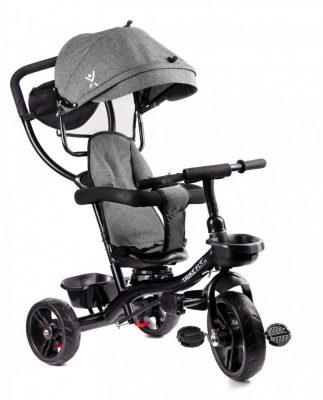 Fix Lite 3in1 tricikli szülőkormánnyal és lábtartóval szürke színben (360°-ban forgatható ülés)
