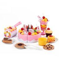 75 részes műanyag születésnapi torta - rózsaszín