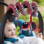Baby Mix csíkos fekete katica rágókával babakocsira vagy babahordozó szerelhető