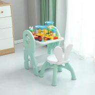 Mama Kiddies Funny többfunkciós játékasztal zöld színben ajándék játékkészlettel és filctollakkal