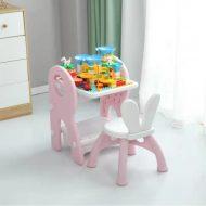 Mama Kiddies Funny többfunkciós játékasztal pink színben ajándék játékkészlettel és filctollakkal