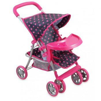 Rózsaszín pöttyös 6 kerekű baba babakocsi