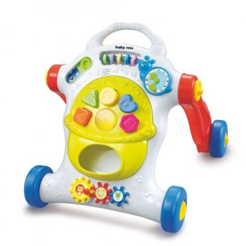 Baby Mix fejlesztő tolókocsi sok forgatható játékkal