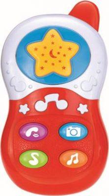 Baby Mix zenélő telefon piros színben