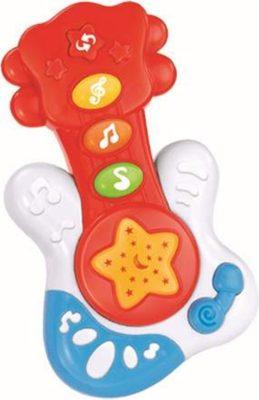 Baby Mix zenélő gitár piros színben
