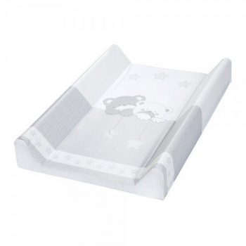 Klups merev pelenkázó lap 70x50 - Macik csillaggal szürke-fehér