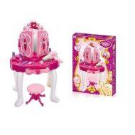 Játék romantic fésülködő asztal székkel tükörrel, hajszárítóval és sok játékkal