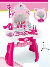 Játék priness fésülködő asztal székkel tükörrel, hajszárítóval és sok játékkal