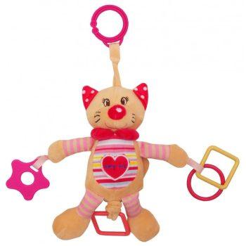 Baby Mix csíkos szívecsekés cica rágókával babakocsira vagy babahordozó szerelhető