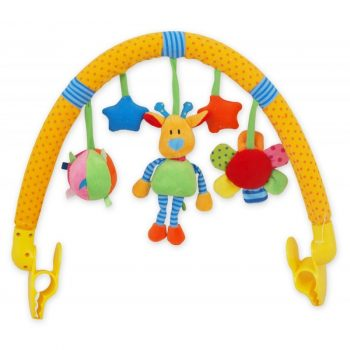 Babakocsira vagy babahordozóra szerelhető játékhíd - zsiráf, labda, virág