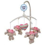 Baby Mix zenélő-forgó játék plüss bocikkal kiságyra pink színben