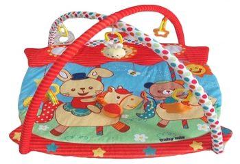 Baby Mix piros szélű téglalap alapú lovagló nyuszis játszószőnyeg