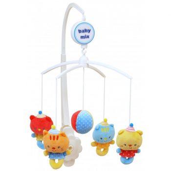 Baby Mix cicás zenélő-forgó játék plüss figurákkal kiságyra