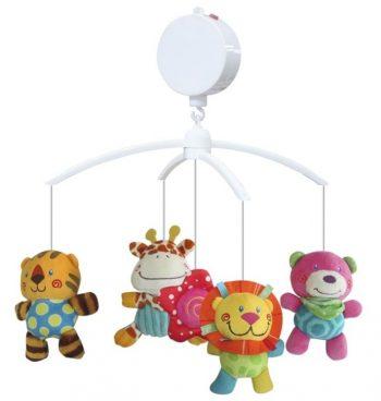 Baby Mix tigris, zsiráf, oroszlán maci zenélő-forgó játék kiságyra