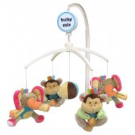 Baby Mix zenélő-forgó játék plüss majmokkal és elefántokkal kiságyra