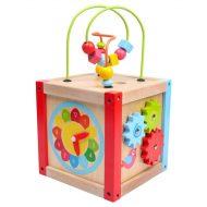 Baby Mix fejlesztő fa kocka sok-sok játékkal