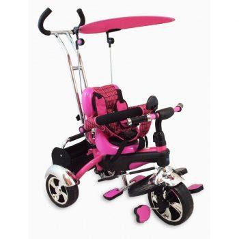 Baby Mix Maxi Trike Pink prémium tricikli tolókarral, sárvédővel és lábtartóval