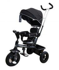 Baby Mix Rider tricikli tolókarral és lábtartóval fekete színben (360°-ban forgatható ülés)