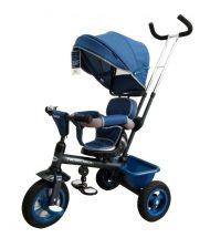 Baby Mix Rider tricikli tolókarral és lábtartóval kék színben (360°-ban forgatható ülés)