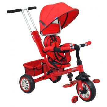 Baby Mix Odyssey piros tricikli kupolával (360°-ban forgatható ülés)