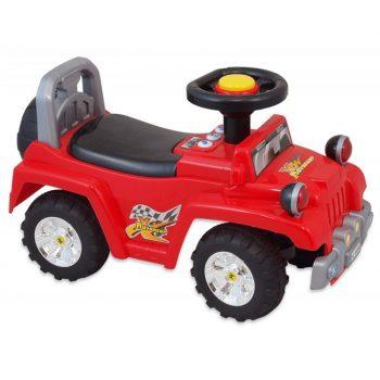 Baby Mix lábbal hajtható zenélő és világító terepjáró gyerekeknek piros színben