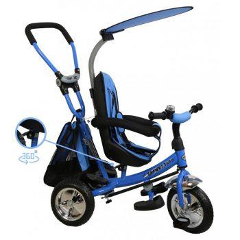 Baby Mix Trike 360 Blue prémium tricikli tolókarral és lábtartóval